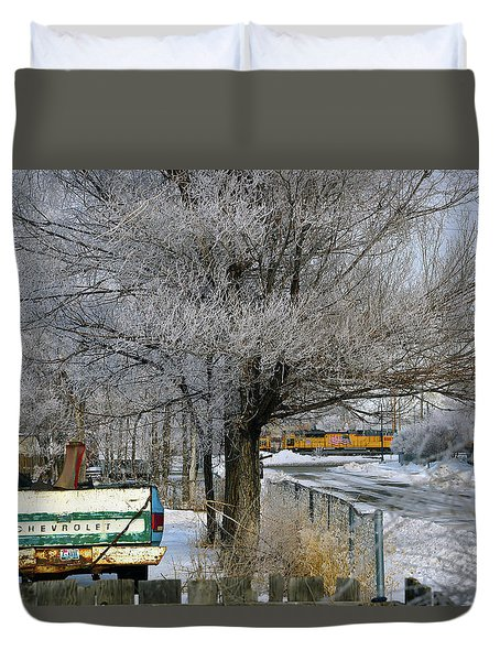 Americana And Hoarfrost Duvet Cover by Eric Nielsen