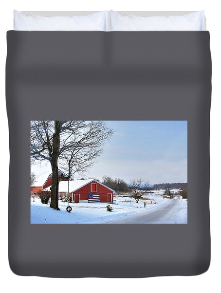 Duvet Cover featuring the digital art Americana Barn In Vermont by Sharon Batdorf