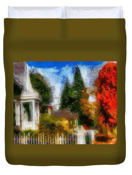 Duvet Cover featuring the painting Americana Dreams by Mario Carini