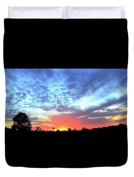 Duvet Cover featuring the photograph City On A Hill - Americus, Ga Sunset by Jerry Battle