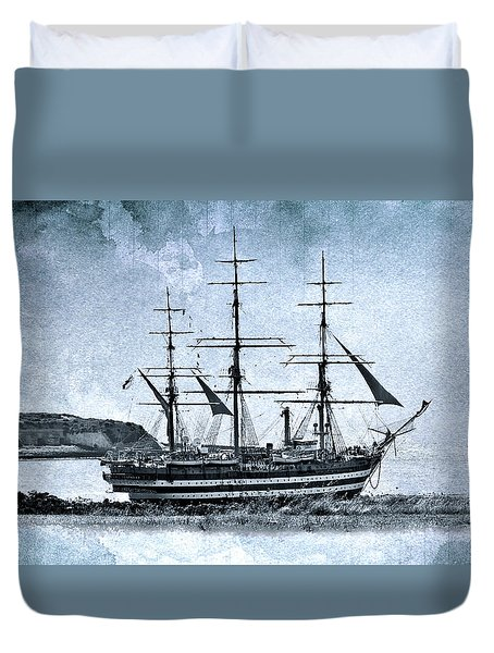 Amerigo Vespucci Sailboat In Blue Duvet Cover