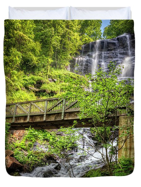 Duvet Cover featuring the photograph Amicalola Falls Top To Bottom by Debra and Dave Vanderlaan