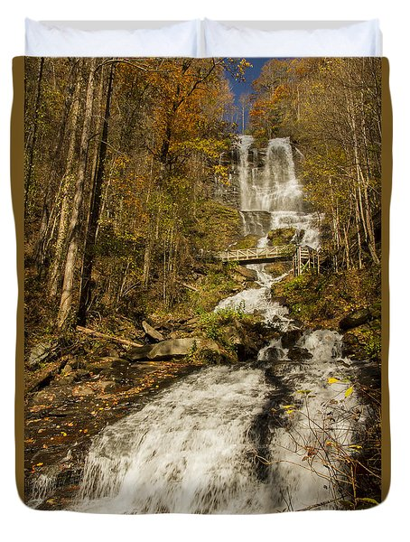 Duvet Cover featuring the photograph Amicola Falls Gushing by Barbara Bowen