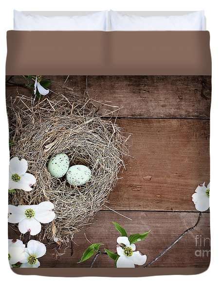 Amid The Dogwood Blossoms Duvet Cover