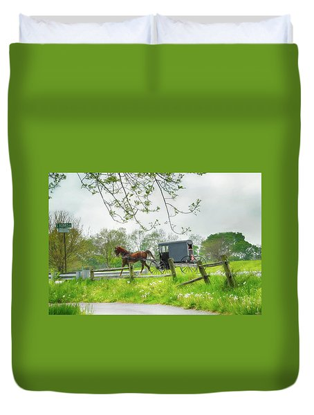 Amish Buggy Along Ronks Road Duvet Cover