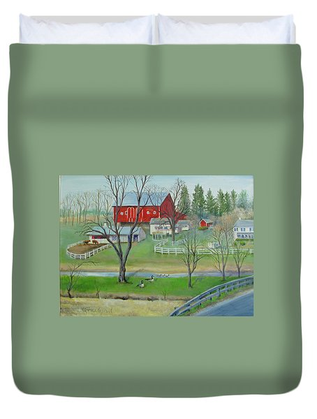 Duvet Cover featuring the painting Amish Farm by Oz Freedgood