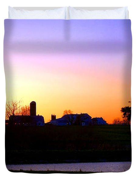 Amish Farm Sunset Duvet Cover