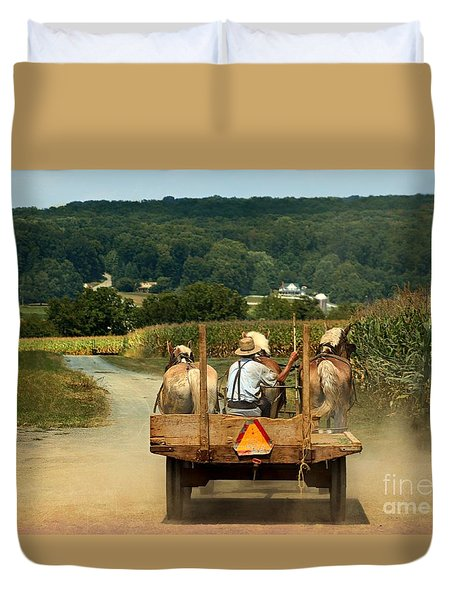 Amish Farmer Three Horses Duvet Cover
