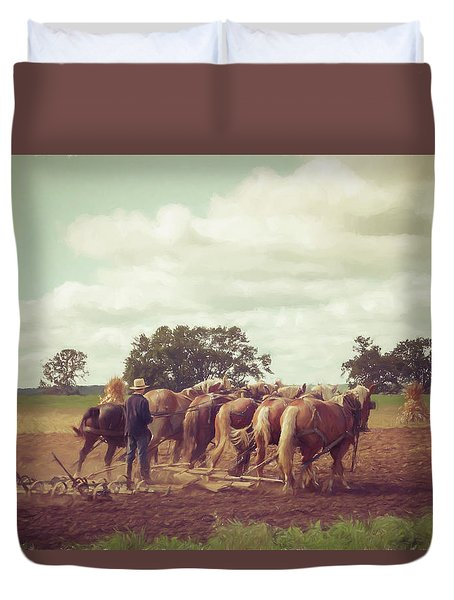 Duvet Cover featuring the photograph Amish Farming by Joel Witmeyer