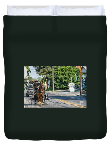 Duvet Cover featuring the photograph Amish Girl On The Road by Patricia Hofmeester