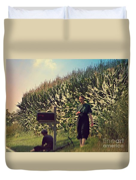 Amish Girls Watermelon Break Duvet Cover