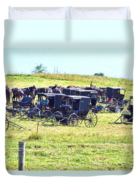Duvet Cover featuring the photograph Amish Hillside by Anthony Baatz