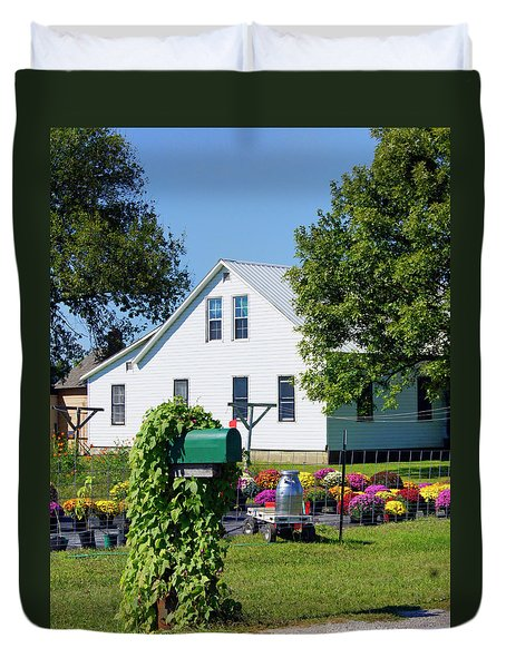 Duvet Cover featuring the photograph Amish House With Mums by Cricket Hackmann