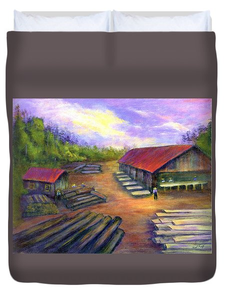 Duvet Cover featuring the painting Amish Lumbermill by Gail Kirtz