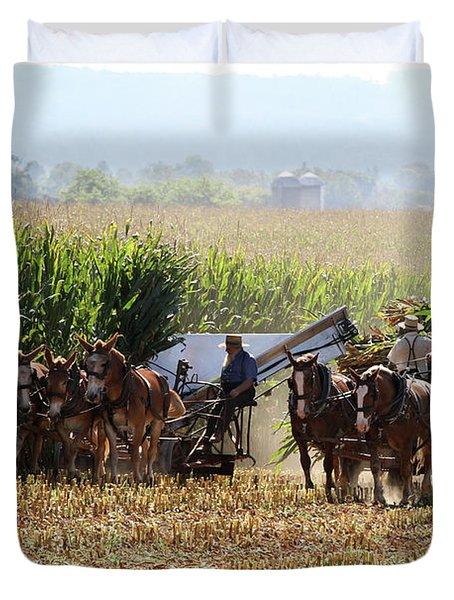 Amish Men Harvesting Corn Duvet Cover