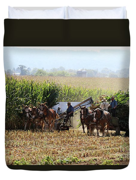 Duvet Cover featuring the photograph Amish Men Harvesting Corn by Steven Frame