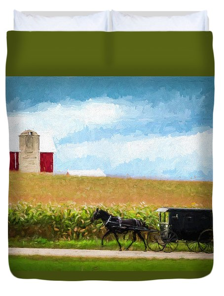 Duvet Cover featuring the digital art Amish Paradise by Joel Witmeyer