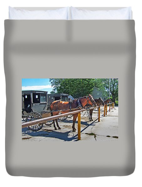 Amish Parking Lot Duvet Cover