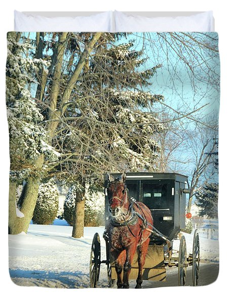 Amish Winter Duvet Cover