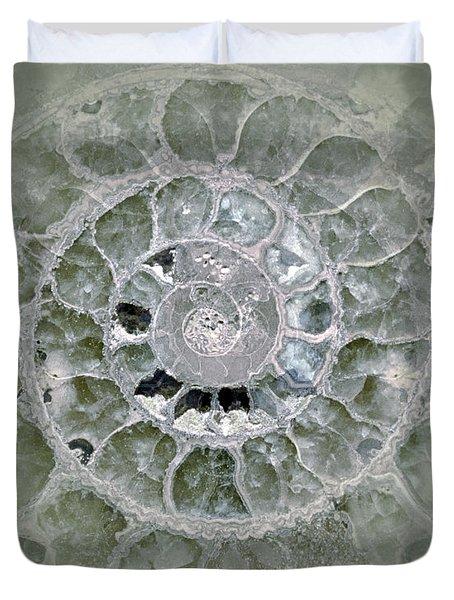 Duvet Cover featuring the photograph Ammonite Blue Green by Gigi Ebert