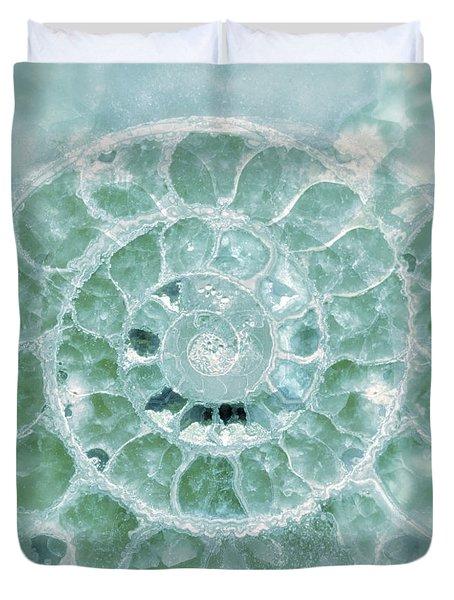 Duvet Cover featuring the photograph Ammonite Emerald Green by Gigi Ebert