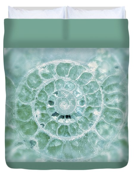 Ammonite Emerald Green Duvet Cover