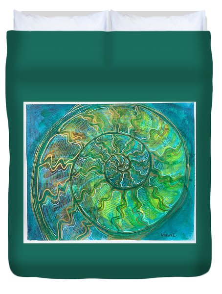Duvet Cover featuring the painting Ammonite Number One by Laurie Maves ART