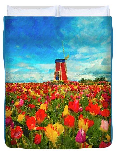 Amongst The Tulips Duvet Cover