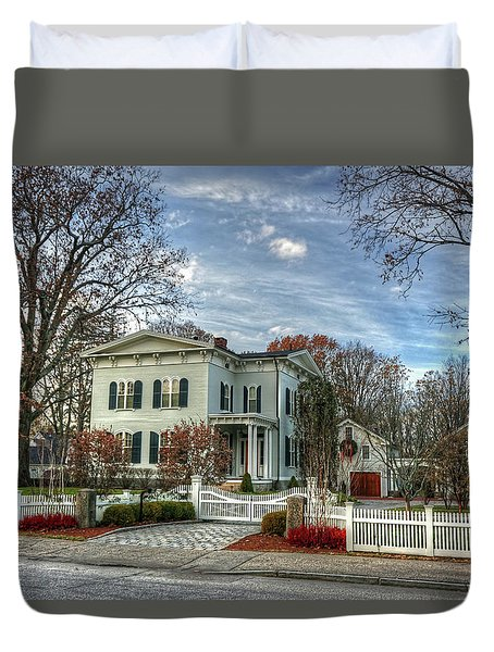 Duvet Cover featuring the photograph Amos Tuck House In Late Autumn by Wayne Marshall Chase