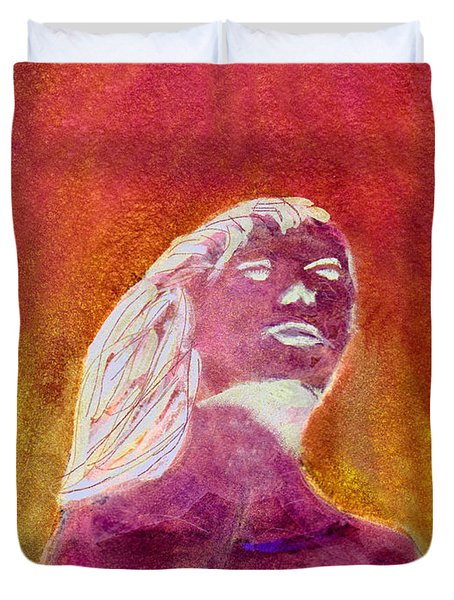 Duvet Cover featuring the painting Amphitrite Siren Of Sunset Reef by Donna Walsh