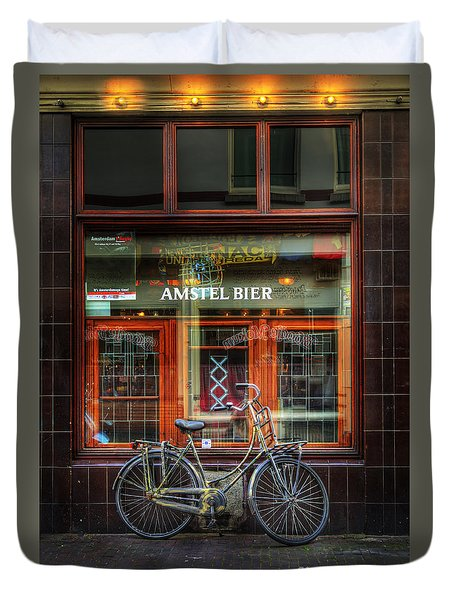 Duvet Cover featuring the photograph Amstel Bier Bicycle by Craig J Satterlee