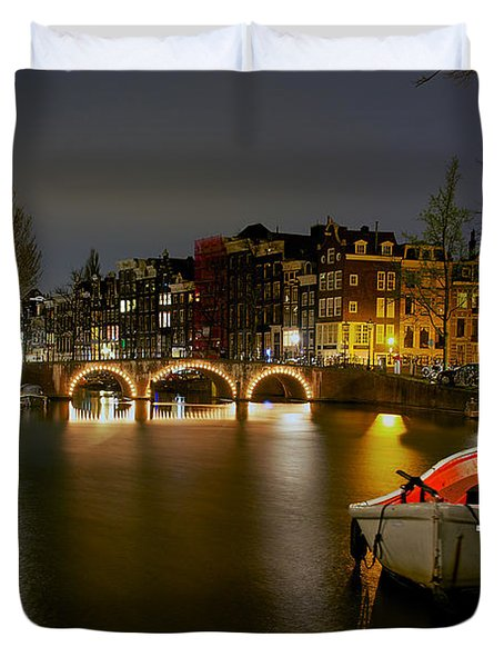 Amsterdam At Night Duvet Cover