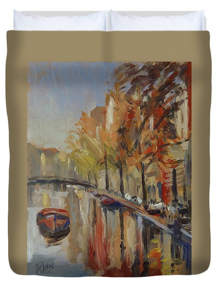 Amsterdam Autumn With Boat Duvet Cover