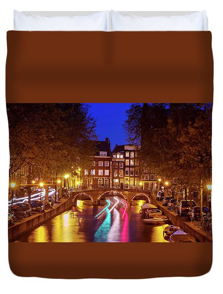 Duvet Cover featuring the photograph Amsterdam By Night by Barry O Carroll