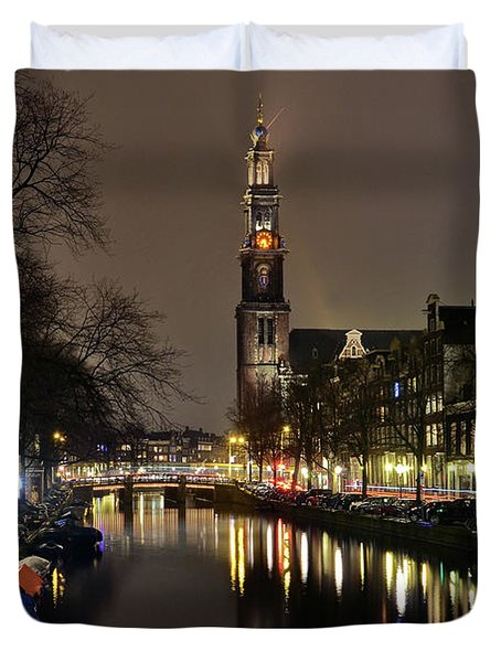 Amsterdam By Night - Prinsengracht Duvet Cover