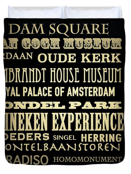 Duvet Cover featuring the digital art Amsterdam Famous Landmarks by Patricia Lintner