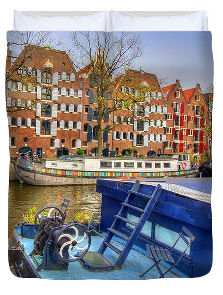 Amsterdam Houseboats Duvet Cover by Nadia Sanowar