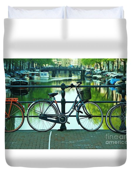 Duvet Cover featuring the photograph Amsterdam Scene by Allen Beatty