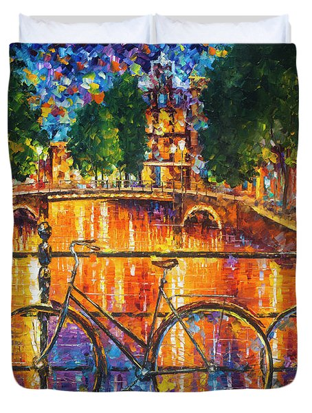 Amsterdam - The Bridge Of Bicycles  Duvet Cover