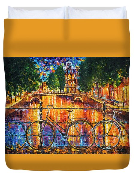Amsterdam - The Bridge Of Bicycles  Duvet Cover by Leonid Afremov