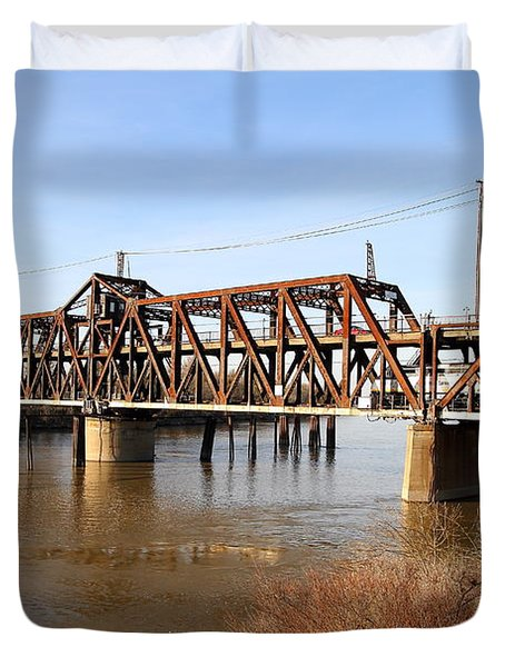 Amtrak California Crossing The Old Sacramento Southern Pacific Train Bridge . 7d11674 Duvet Cover by Wingsdomain Art and Photography