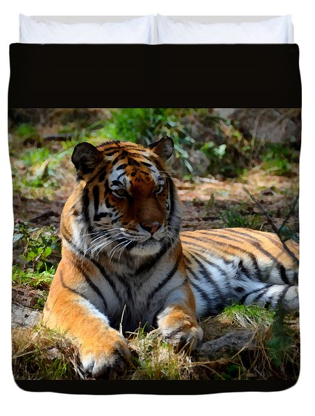 Duvet Cover featuring the mixed media Amur Tiger 1 by Angelina Vick