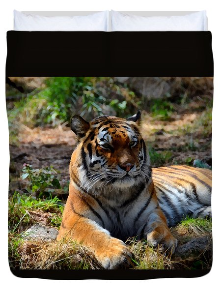 Duvet Cover featuring the mixed media Amur Tiger 10 by Angelina Vick