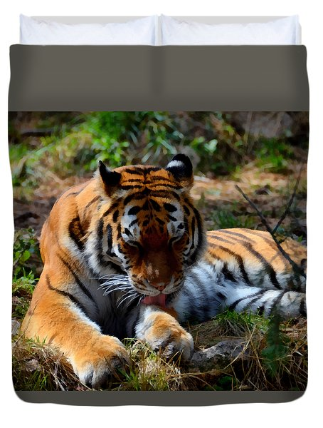 Duvet Cover featuring the mixed media Amur Tiger 2 by Angelina Vick