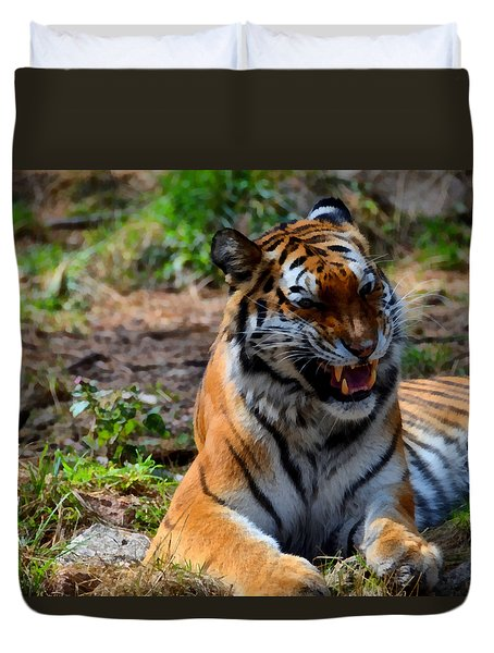 Duvet Cover featuring the mixed media Amur Tiger 3 by Angelina Vick