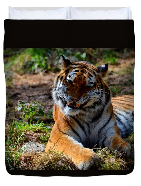 Duvet Cover featuring the mixed media Amur Tiger 4 by Angelina Vick