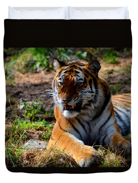 Duvet Cover featuring the mixed media Amur Tiger 5 by Angelina Vick