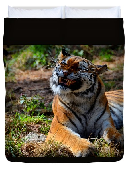 Duvet Cover featuring the mixed media Amur Tiger 6 by Angelina Vick