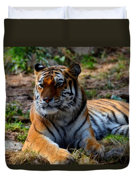 Duvet Cover featuring the mixed media Amur Tiger 8 by Angelina Vick