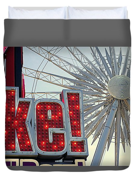 Duvet Cover featuring the photograph Amusement by Valentino Visentini